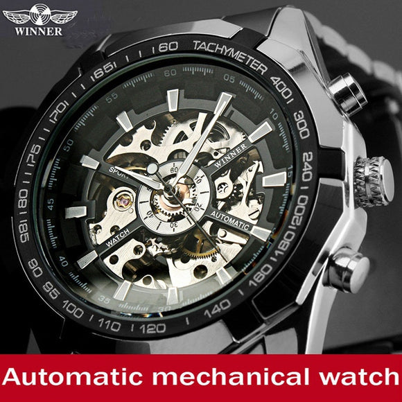 Mens Skeleton Mechanical Watch Stainless Steel Band with Gift Box