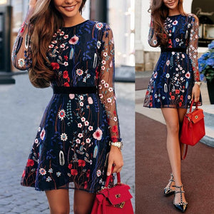 Fashion Women Chimmo Bodycon Dress Long Sleeve Dress Embroidered Party Dress