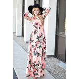 Floral Women Printing Spring 3/4 Sleeve Classic Rose Printed Maxi Dresses Cocktail Party Dresses