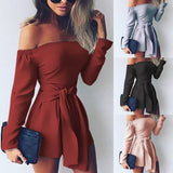 2018 New Women Fashion Pure Color Long Sleeve Sexy Boat Neck High Waist Bandage Jumpsuits Casual Slim Siamese Trousers