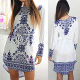 New Women Fashion Long Sleeve Blue and White Vintage Porcelain Flower Blouse Mini Dress