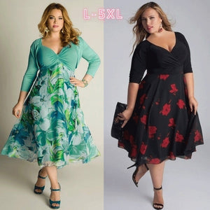 Green Floral Print Dress Plus Size 3/4 Sleeves Dress M-XXXXXL ZB2614