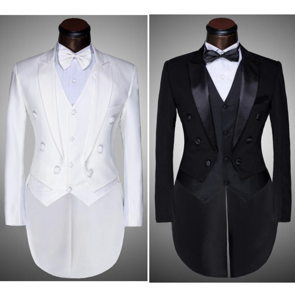 ( Jacket + Pants + Vest + Bow tie ) 2017 Fashion Men Suits Wedding White Black Slim Fit Male Singer