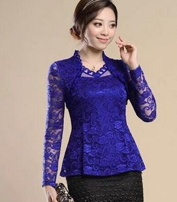 Women clothing Spring lace Shirt Tops Cutout basic female Elegant
