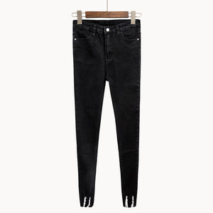New Slim Stretch High Waist Skinny Jeans Female Scratch Worn Feet Vintage Black Blue Pencil Pants Women Jeans Plus Size S-4XL