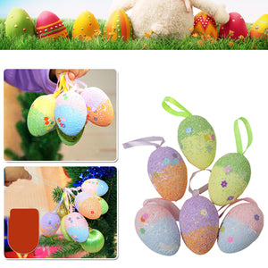 6 Pcs/lot Glitter Foam Easter Eggs Hanging Crafts Decorations Baskets Ornaments Decor Party Home Color Random
