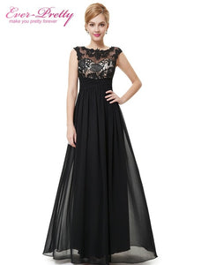 [Clearance Sale] Chiffon Formal Evening Dress Ever-Pretty HE08441 Women 2017 Fashion Long Elegant Maxi Black Lacy Evening Dress