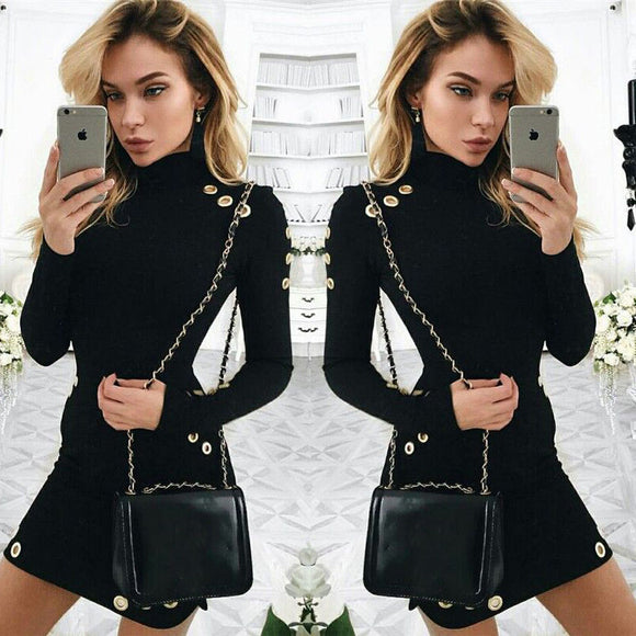 Sought-After Women Sexy Black Bodycon Long Sleeve Casual Party Mini Dress