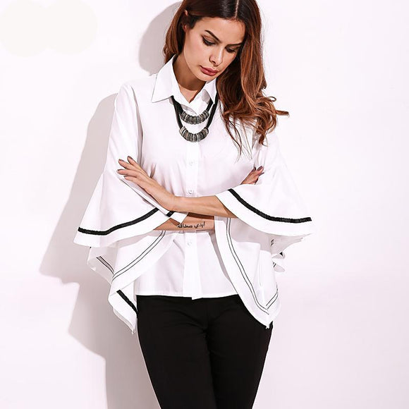Sleeve Blouse Elegant Women Shirt Loose Fashion Tops