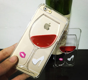 Hot Red Wine Glass Liquid Transparent Phone Case Hard Back Cover For iPhone 5 5S SE 6 6S 7 Plus Housing
