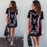 Ladies Summer Crew Neck T Shirt Mini Dress Ladies Women Print Dresses Sundress