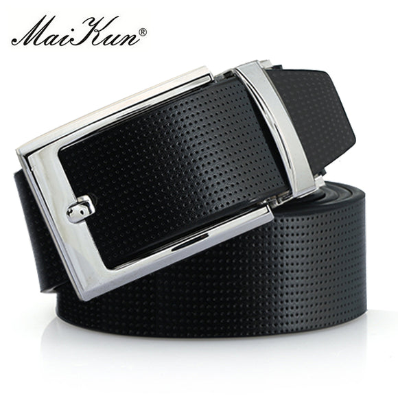 Leather Pin Buckle Belts for Men High Quality Male Strap Fashion Silvery Reversible Buckle Men's Belt