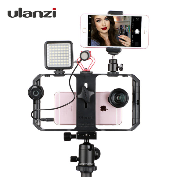 Smartphone Video Rig Youtube Facebook Live Stream Stabilizer w Microphone Led Light Bluetooth Remote Control for iPhone 8