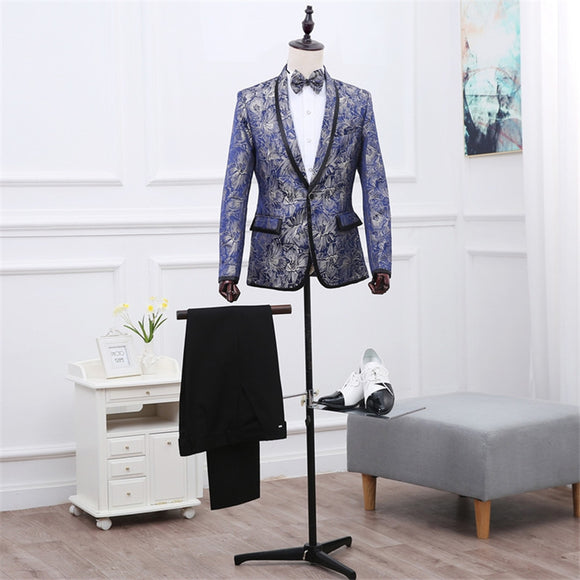 Mens Floral Blazer Men Dress Pants Mens Wedding Suit