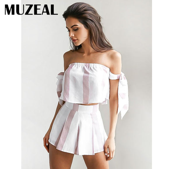 Hot Sexy Girl Slash Neck Tops Mini Shorts 2 Pieces Pleated Night Club Party Casual Lady Short 2 Pieces Set 89