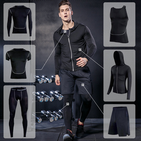 Men's Gym training fitness sportswear tights slim clothes running workout tracksuit suits quick drying fit high elastic clothing