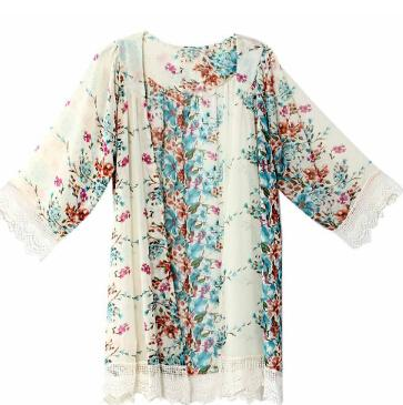 Women Flower Print Chiffon Blouse Shirt