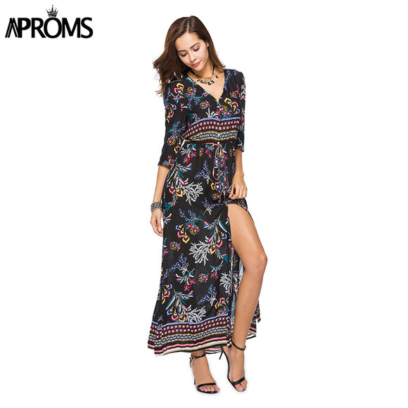 Aproms V Neck Boho Print Summer Maxi Dress Women Sexy 3/4 Sleeve Buttons Split Dress 2018 Beach Chic Long Dress Sundress Vestido