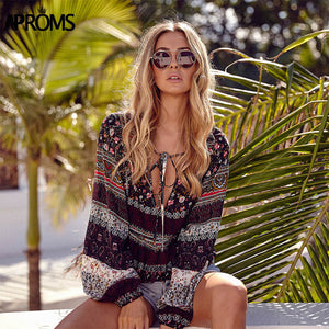 APROMS Elegant Tropical Floral Print T-Shirt Women Deep V Tie Bow Tee Loose T Shirt Ladies Summer Casual Boho Long Sleeve Top