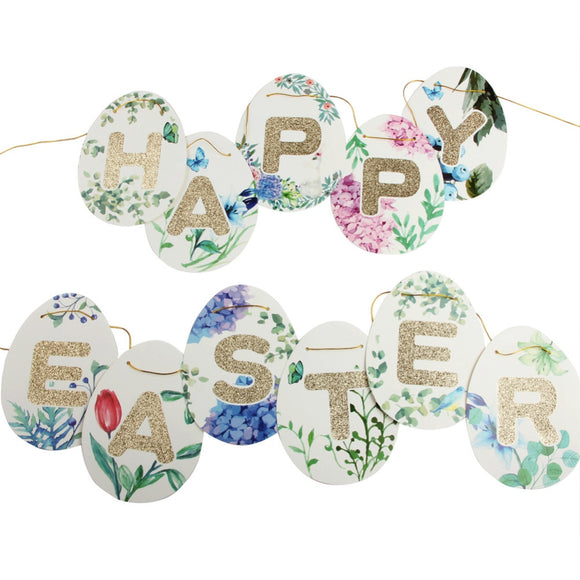 Happy Easter Banner Floral Banner Happy Easter Sign Easter Bunting Decor Spring Decor