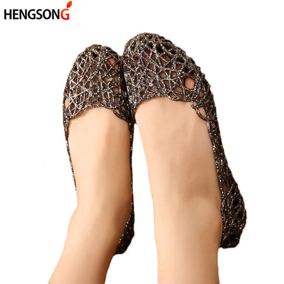 HENGSONG Women's Sandals 2018 Fashion Lady Girl Sandals Summer Women Casual Jelly Shoes Sandals Hollow Out Mesh Flats  23-25cm