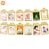12PCS/Lot DIY Photo Frame 1-12 Months Banners Baby Shower Birthday Party Garlands Photo Booth Props Decoration