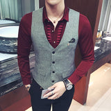 New Fashion t Slim Fit Waistcoat Gilet Plus Size 5XL Quality Thin Dress