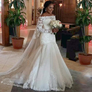 White Wedding Dress Mermaid Boat Neck Lace Appliques Long Sleeves 2018 Long Simple Wedding Dress YN0227