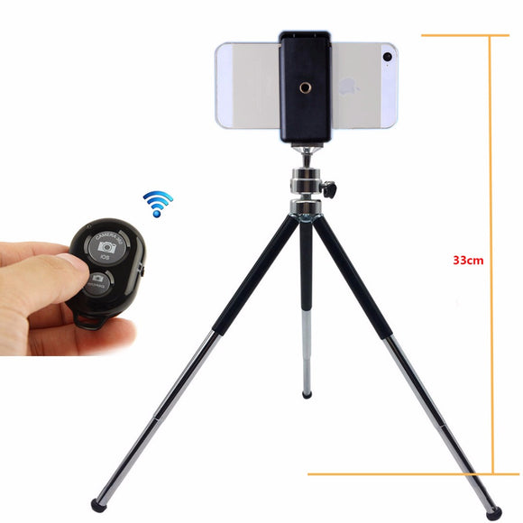 Metal Mini Tripod With Phone Holder Bluetooth Remote For Iphone and Samsung Android Phones