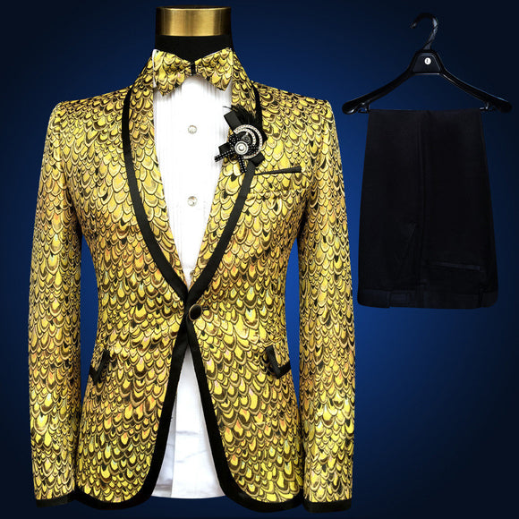 2018 Fashion Brand Men Suits Wedding Sequined Gold Silver Slim Fit Business Party Groom Suit Jacket+Pants+Bow