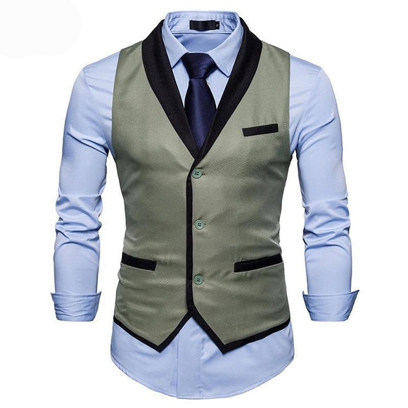 Brand 2018 Men Slim Suit Vests Male Single Breasted Notched Collar Business Casual Vest Men Party Wedding Waistcoat S-XXL