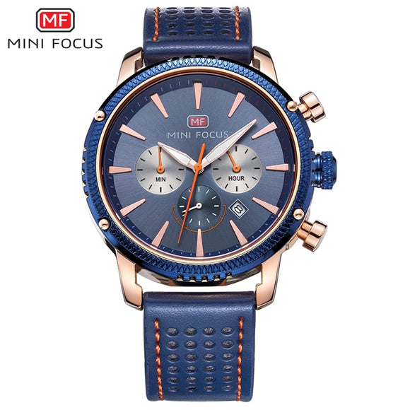 MINI FOCUS Top Brand Luxury Men Watches Blue Analog Clock