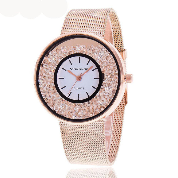 2018 New Fashion Stainless Steel Gold Rhinestone Watches