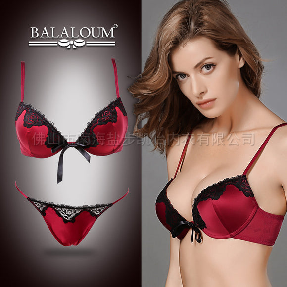 New BALALOUM Brand Luxury Palace Embroidery Bra Briefs Set Women Underwear Sexy Lace Push Up Bra and Thong Set B72