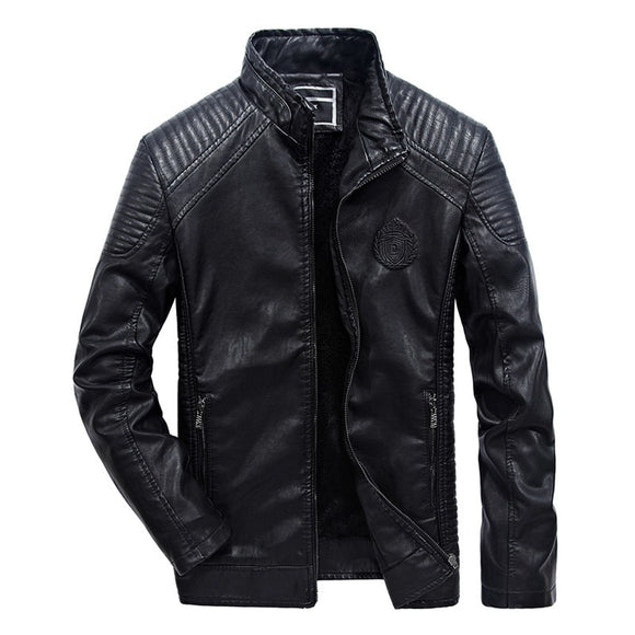 Fashion Mens Leather Jacket Warm