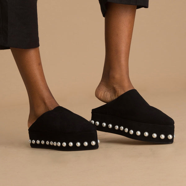 Rhita Sebti handmade luxury platform babouche shoes designed in Casablanca, Morocco, embellished with pearls.