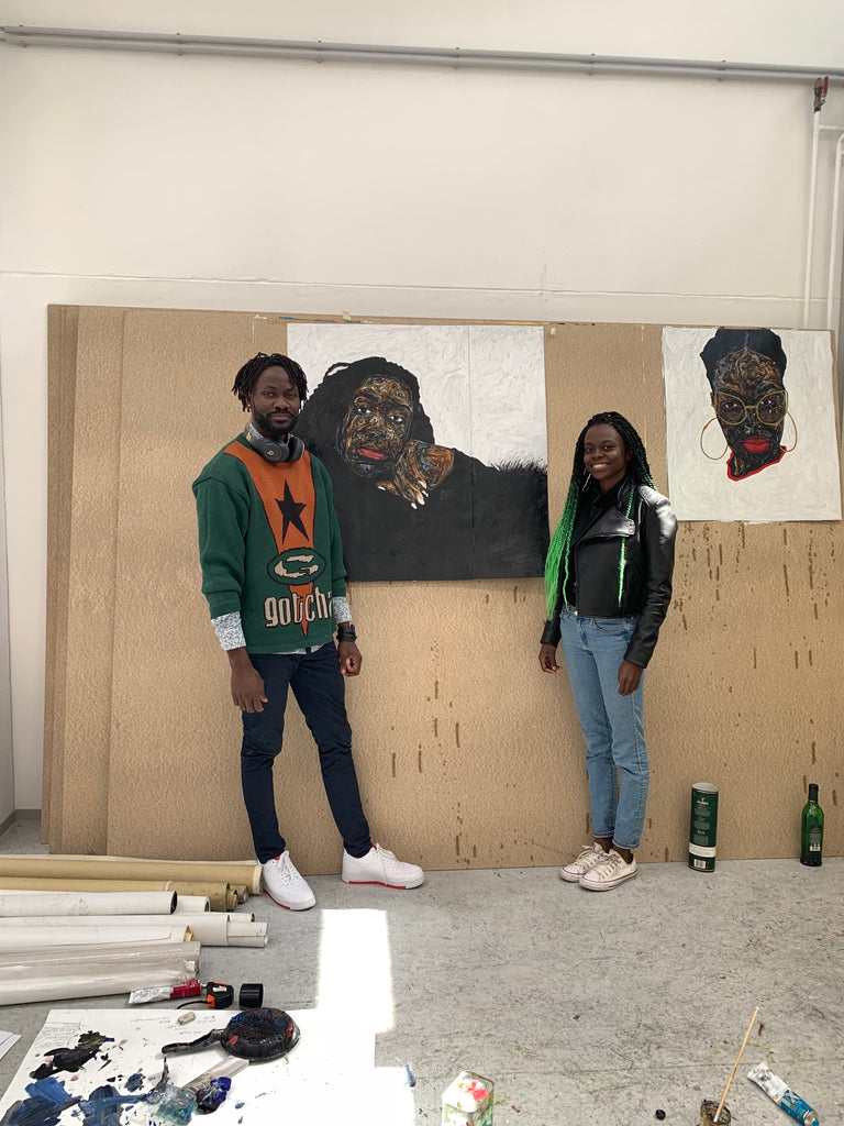 Destinee Ross with artist Amoako Boafo