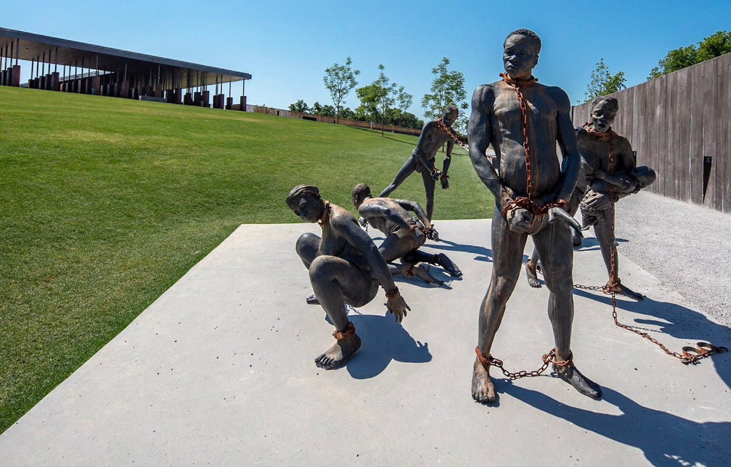 Nkyinkim by Kwame Akoto-Bamfo at the National Memorial for Peace and Justice that opened in 2018 in Montgomery, Alabam