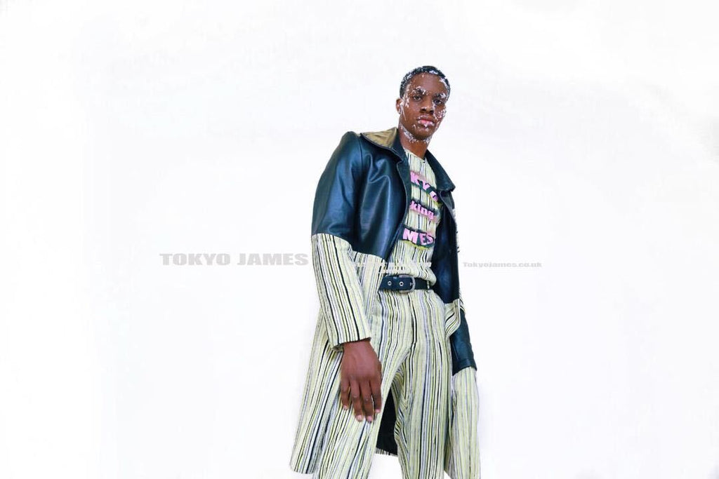 Tokyo James Autumn Winter 2020 green pinstripe pants and pinstripe green leather coat