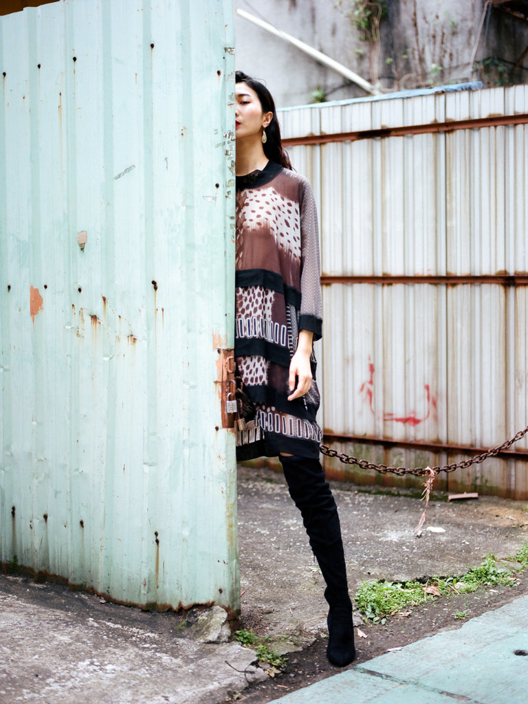 Model Ting Ting in Taipei, Taiwan wearing South African fashion brands W35T and Pichulik for The Folklore