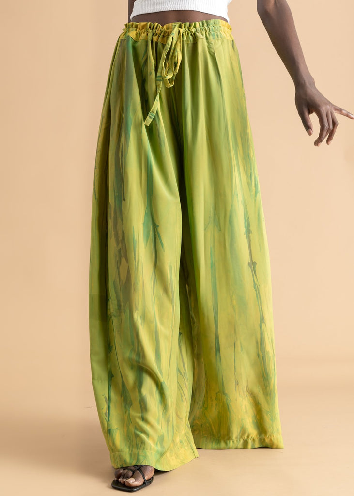Green Deep Dyed Wide Leg Pant