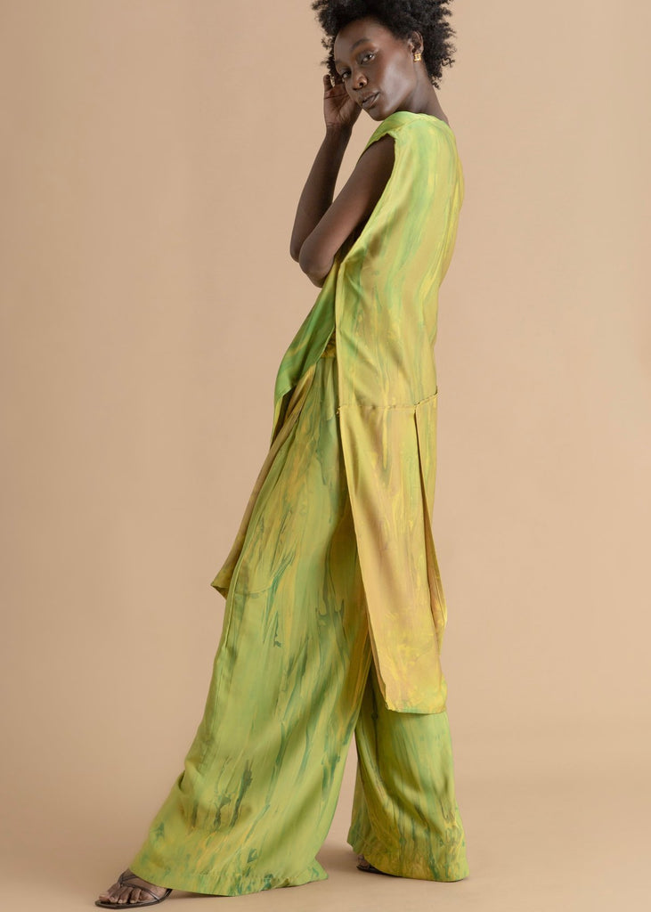 Green Deep Dyed Wrap Top