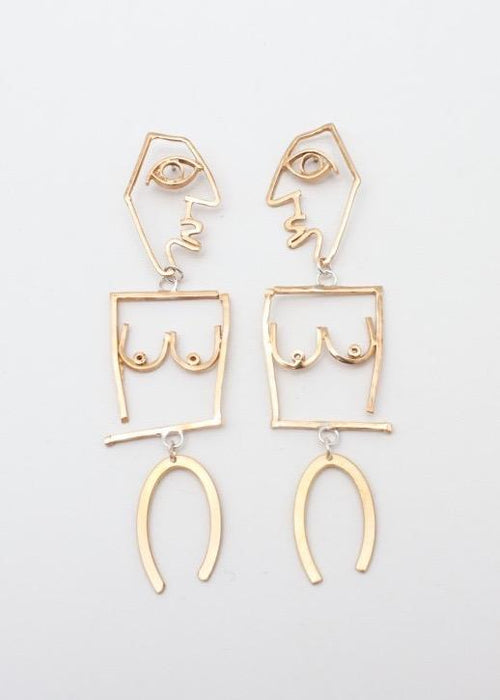Brass Gold Plated Puppet Character Dangling Earrings