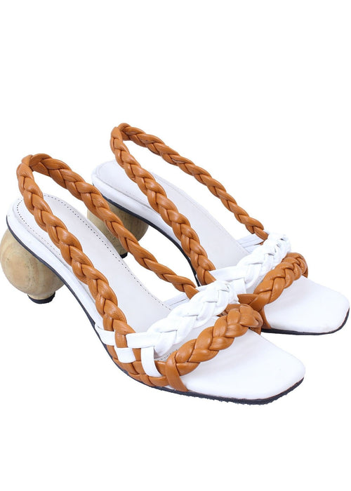 Shekudo white braided sandal with wooden heel