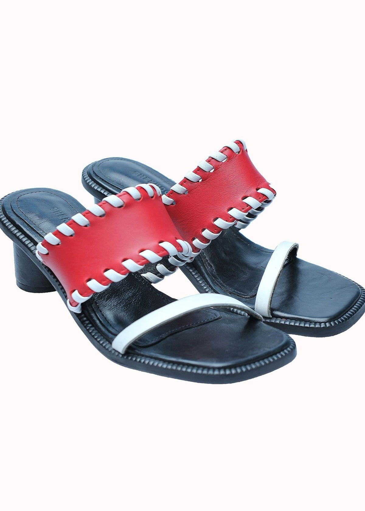 Black and red Shekudo leather braided sandal