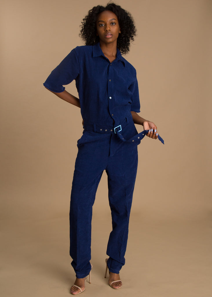 Orange Culture Safari Blue Jumpsuit