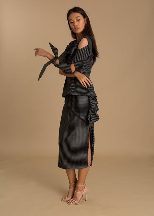 Black pinstripe skirt set