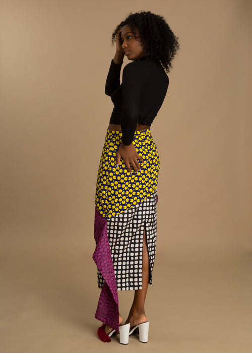 Colorful high-waisted jacquard skirt
