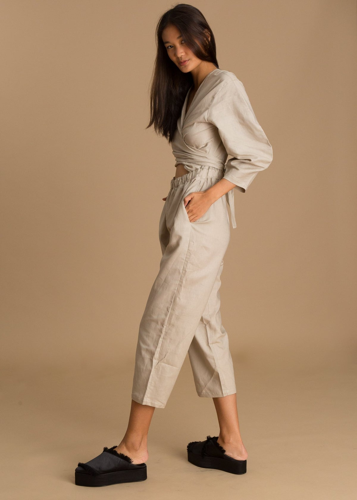 Beige Wide Sleeve Linen Jumpsuit