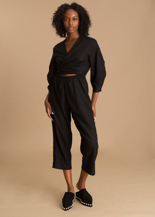 Black linen long sleeve jumpsuit